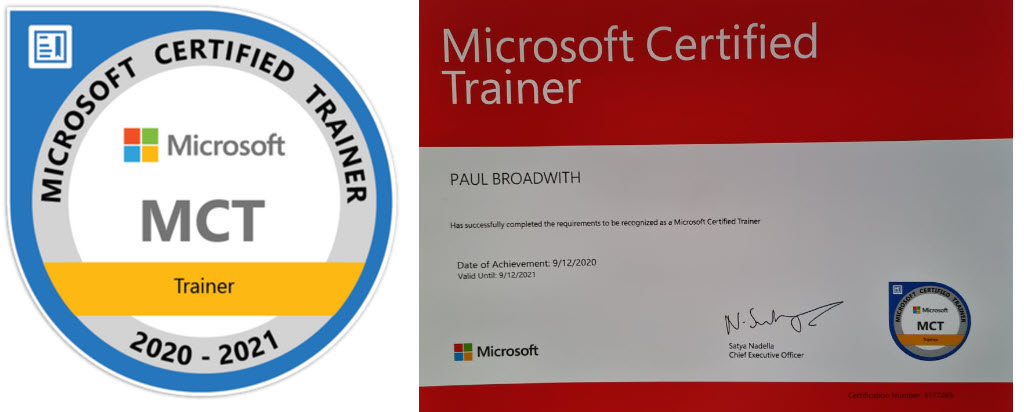 I'm a Microsoft Certified Trainer for 2020-2021